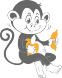 Muursticker Aapje met bananen | Muur & Stickers