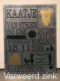 Geboortebord verweerd zink - kraamcadeau | Muur & Stickers