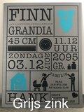 Geboortebord grijs zink | muurenstickers.nl