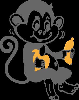 Muursticker 'Aapje met bananen'