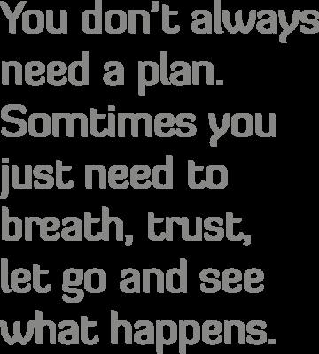 Muursticker 'You don't always need a plan'
