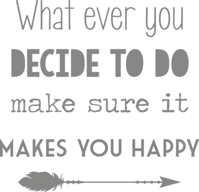 Muursticker 'What ever you decide to do, make sure it makes you happy'