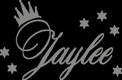 Muursticker 'Naam met kroon & sterren'
