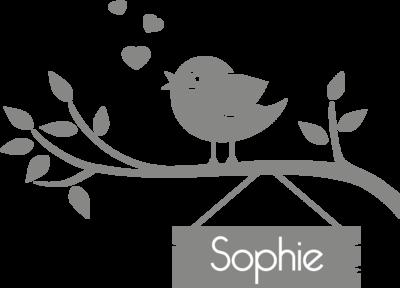 Muursticker 'Vogel op tak met naambordje'