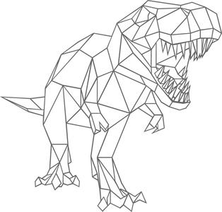 Muursticker T-Rex geometrisch| Muur & Stickers