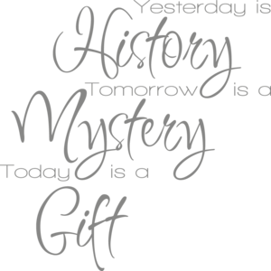 Muursticker yesterday is history, tomorrow is a mystery, today is a gift | Muur & Stickers