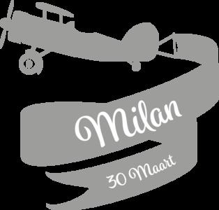 Geboortesticker vliegtuig | muurenstickers.nl