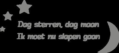 Muursticker dag sterren, dag maan. Ik moet nu slapen gaan. | muurenstickers.nl